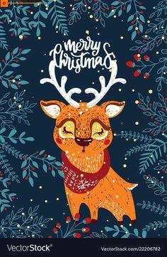 Christmas poster with deer vector image on VectorStock Merry Christmas Images, Christmas Quotes, Christmas Time, Christmas Crafts, Christmas Posters, Christmas Flatlay, Christmas Ideas, Vector Christmas, Christmas Inspiration