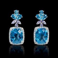 .39ct Diamond Blue Topaz and Tanzanite 18k White Gold Dangle Earrings