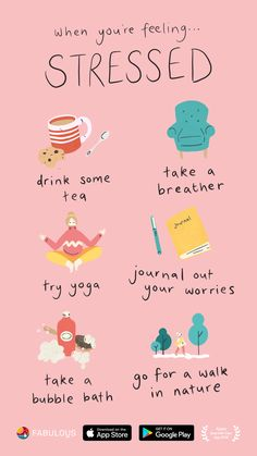 When You're Feeling Stressed. - Join the millions of Fabulous users and create a healthier, happier life. Vie Motivation, Study Motivation, Self Care Bullet Journal, Self Care Activities, Feeling Stressed, Self Improvement Tips, Self Care Routine, Self Development, Take Care Of Yourself