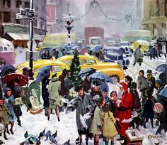 Illustration by John Gannam. Christmas, 1948. Love this. It reminds me of growing up in NYC.