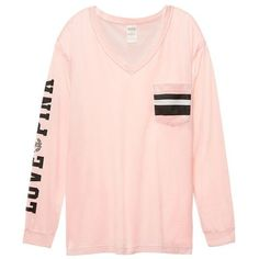 Victoria's Secret PINK Campus Long-Sleeve Pocket Tee ($43) ❤ liked on Polyvore featuring tops, t-shirts, pink knit top, pink tops, pink long sleeve t shirt, pink pocket tee and long sleeve tees