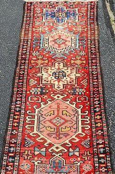 2-x-10-Fine-Rare-Genuine-S-Antique-Persian-Heriz-Serapi-Handmade-Wool-Rug-Runner