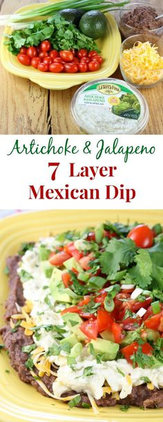 Artichoke & Jalapeño 7 Layer Mexican Dip recipe found at missinthekitchen.com