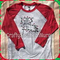 Mery Christmas Y'all Raglan Jersey 3/4 Sleeve Shirt SUPER SOFT Xmas NOLA New Orleans Louisiana Cute Yall Festive Holiday Party Southern Tee by CraftySouthernNurse