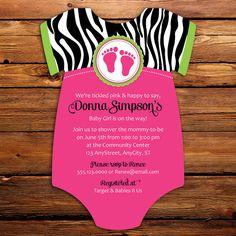 Zebra print top with hot pink bow onesie baby shower invitations pink zebra baby shower invitations 20 by littlebeesgraphics 3100 filmwisefo