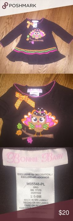 Bonnie Baby Thanksgiving dress...Size 6-9 months Excellent condition Bonnie Baby dress...Size 6-9 months...dark brown with turkey on front...perfect for Thanksgiving...no rips or stains...From a smoke free home! Bonnie Baby Dresses Casual