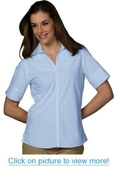 Ed Garments Women's Short Sleeve Poplin Shirt, BLUE, XX-Small