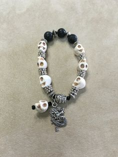Howlite and Lava Beads Essential Oils Stretchy Bracelet