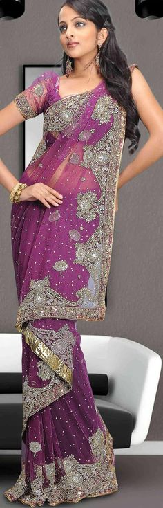 $245.37 Violet Net Saree 12773 With Unstitched Blouse