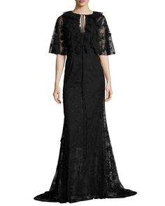 Neva Lace Capelet Gown, Jet by Sachin & Babi at Neiman Marcus. Gowns With Sleeves, Half Sleeves, Paris Dresses, Keyhole Dress, Capelet, Lace Trim, Lace Dress, Jet, Evening Dresses