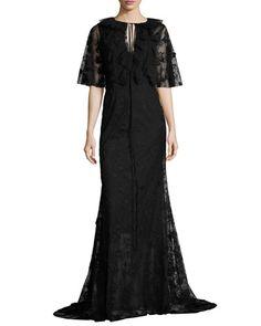 Neva Lace Capelet Gown, Jet by Sachin & Babi at Neiman Marcus. Paris Dresses, Keyhole Dress, Gowns With Sleeves, Capelet, Lace Trim, Lace Dress, Evening Dresses, Jet, Luxury Fashion