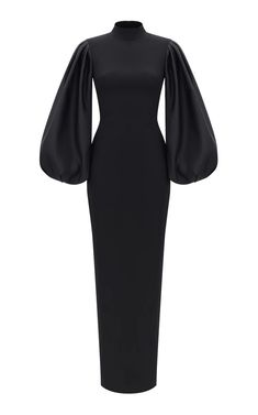 Shop Voluminous Sleeve Crepe And Satin Gown. Rasario's voluminous sleeve gown is designed with a mock neckline, fitted silhouette and a floor length. Muslim Fashion, Modest Fashion, Hijab Fashion, Fashion Dresses, Elegant Dresses For Women, Dresses For Work, Dresses For Hijab, Hijab Gown, Elegant Clothing