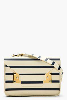 SOPHIE HULME Ecru & Navy Stripe Leather Mini Envelope Shoulder Bag
