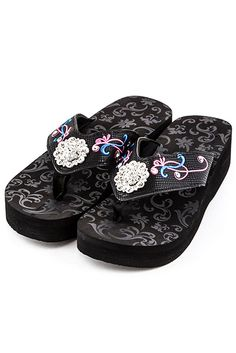 fcab0addd3e37d Western Flower Embroider Accented Rhinestone Flip Flop  GetEverythingElse   FlipFlops Cute Flip Flops