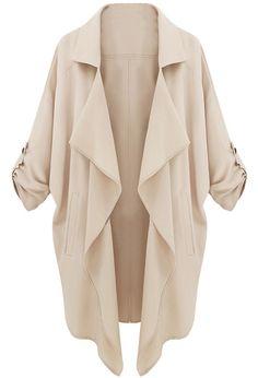 Beige Long Sleeve Casual Loose Pockets Coat 19.99