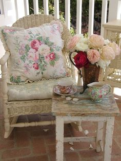 chair, tea time, rose, pillow, cottag, shabbi chic, shabby chic, afternoon tea, front porches