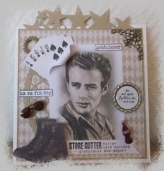 Connie`s lille verden Kuta, James Dean, Forslag, Diy And Crafts, Boys, Frame, Cards, Scrapbooking, Construction