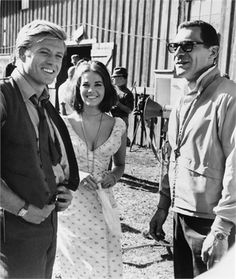 Robert Redford, Natalie Wood & Sydney Pollack, on set of This Property is Condemned, 1966