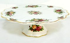 Royal Albert Pedestal Cake Plate -OLD COUNTRY ROSES- Gold Gilt Platter-Boxed | eBay