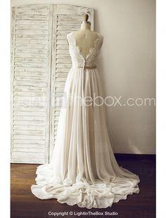 A-Linie Hochzeitskleid - Schick & Modern Farbige Brautkleider / Durchsichtig Hof Schleppe V-Ausschnitt Chiffon / Spitze mitSchärpe / Band 2016 - €127.39