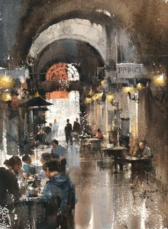 Afternoon tea in Vienna 37 x 27 cm . 2017, Plein air by 簡忠威 (Chien Chung-Wei)