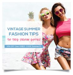 """""""Yoins: Vintage Summer Fashion Tips"""" by yoinscollection ❤ liked on Polyvore featuring vintage"""