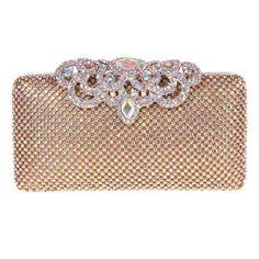 Fawziya® Crown Clutch Purse Bling Hard Box Rhinestone Crystal Clutch Bag-AB Gold