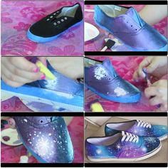 Everyone's dying to have the galaxy shoes, but not for $50! Get some simple black vans look alikes and tape the white rubber on the bottom to avoid paint. Next, starting with a navy blue, start blotting and fading all your colors together, having some lighter spots and zero direct lights! I recommend white, navy, sky blue, plum, light purple and light pink. Put white and then the pink in the lighter spots. Then spot white fading out then , using a toothbrush, spray the white around for…