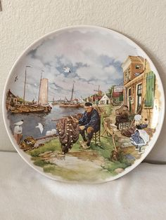 1984 Royal Schwabap Holland Hanging Plate Fisherman  by Water