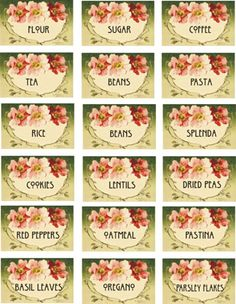 miniature printable kitchen canister jar labels