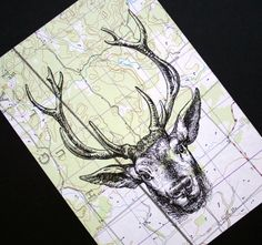 The woods are calling!  Deer print on vintage map, Canada; by   CrowBiz
