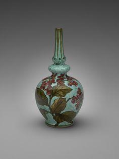 Maker: John Bennett, American, 1840 - 1907 Vase  1878-1883 Earthenware with underglaze painted decoration Overall: 27.94 x 12.7 cm (11 x 5 in.