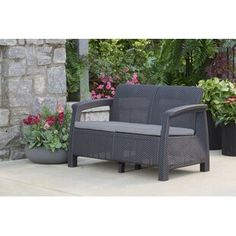 Mercury Row Berard Patio Loveseat with Cushions Color: Graphite, Arm Type: Rattan Grey Cushions, Patio Loveseat, Patio Chairs, Outdoor Sofa, Outdoor Furniture Sets, Rustic Furniture, Vintage Furniture, Furniture Styles