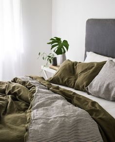 Ultra luxurious pure French DOUBLE SIDED linen quilt cover in Olive / Stripes Earthy relaxed bedroom styling with our linen Olive double sided quilt cover. Earthy Bedroom, Large Bedroom, Bedroom Inspo, Home Bedroom, Bedroom Decor, Olive Bedroom, Bedroom Ideas, Bedroom Signs, Decorating Bedrooms