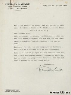 Document: letter from 1938 re a Jewish company in Germany which was taken over as part of the Nazi aryanisation process. Part of the Ludwig Neumann collection.