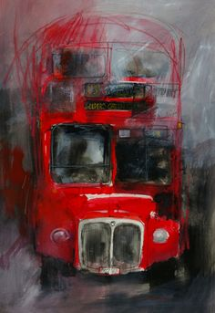 Last Bus Leaving - John Lovett  The frantic pace of down town London is regularly punctuated by the hot diesel clatter of these ancient relics. Huge and shiny, it's hard to believe these  awesome machines form the backbone of a reliable transport system. This painting plays on the contrast between the enormous mass of lovingly polished duco and the machines apparent attempt to self destruct while idling.