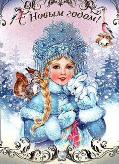 Snow maiden squirrel art christmas rabbit bird