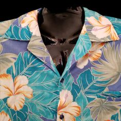 08210023b05be Hilo Hattie 80s Hawaiian Shirt XL Button Front Short Sleeve Hibiscus Blue  Purple. Mens Hawaiian ShirtsHibiscusFloral ...