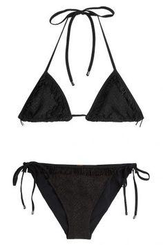 64d6a56a2b18 Missoni Mare Missoni Mare Triangel-Bikini mit Metallic-Fäden – Schwarz Damen  Bikini,