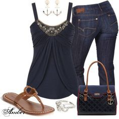 Casual chic: dark jeans, dark blue top, tan shoes and details