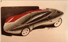 This concept design sketch by Steve Harper in August 1985 was for a mid engine Coupe/Supercar using a VOLVO engine Car Design Sketch, Car Sketch, Automotive Design, Auto Design, Conceptual Drawing, Solar Car, Paper Car, Car Illustration, Retro Futuristic
