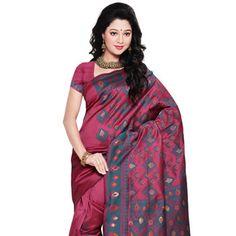 Dark Onion Pink Banarasi Art Silk Saree with Blouse