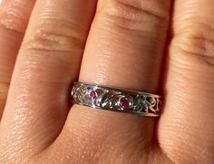 Sale, Vine and leaves eternity band, feminine wedding ring, Pink sapphire band, Wedding eternity band, white solid gold ring, size 8.5 ring by BridalRings on Etsy https://www.etsy.com/listing/290341611/sale-vine-and-leaves-eternity-band