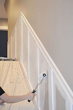 Staircase Makeover: How to Install molding - Remington Avenue - staircase molding (paint roller) - Home Improvement Projects, Home Projects, Home Improvements, Home Renovations, Staircase Molding, Moulding, Crown Molding, Staircase Makeover, Staircase Ideas