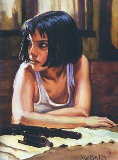 Leon: the professional ART - Mathilda Natalie Portman Leon, The Professional Movie, Mathilda Lando, The Stranger Movie, Movie Poster Art, Illustrations And Posters, Art Inspo, Amazing Art, Comic Art