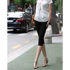 กางเกงเลคกิ้ง แฟชั่นเกาหลีขาสามส่วนเอวสูงสวยใส่สบาย นำเข้า สีดำ - พร้อมส่งTJ7189 ราคา670บาท