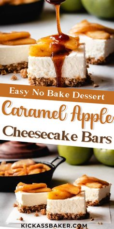 These easy cheesecake bars come together super quickly. With a no-bake cheesecake filling, loads of sweet caramel apples on top and a salty pretzel crust that doubles as a topping, you'll love every bite of these sweet, salty, lusciously creamy dessert bars! Baker Recipes, Easy Baking Recipes, Pastry Recipes, Sweets Recipes, Apple Recipes, Desserts To Make, Homemade Desserts, Delicious Desserts, Caramel Apple Cheesecake Bars