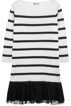 RED Valentino|Lace-trimmed striped cotton dress