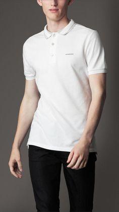 d39f433c34b8 Burberry Striped Collar Polo Shirt Burberry T Shirt