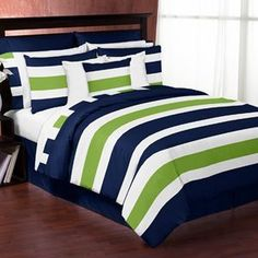 Navy Blue and Lime Green Stripe 3pc Teen Full / Queen Bedding Set Collection only $99.99 #LuxuryBeddingNavy